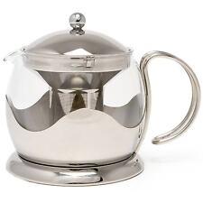La Cafetiere Tea Pot 660ml 2 Cup Stainless Steel Filter Glass Beaker Steel New