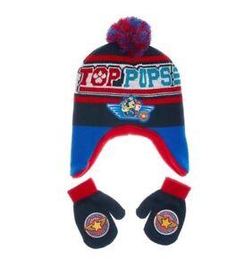Paw Patrol Toddler Boys or Girls Pom Pom Peruvian Hat & Mittens Set One Size New
