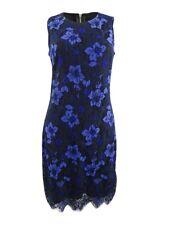 DKNY Women's Two-Tone Lace Sheath Dress 8, Blue/Black