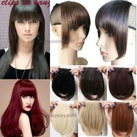 Clip On Clip In Front Hair Bang Fringe Hair Extension Straight Black Brown gd18