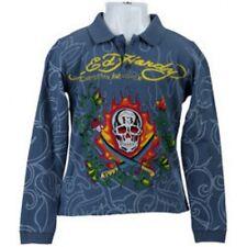 NWT Ed Hardy Kids Boys Polo T-Shirt Long Sleeve Blue Size 4