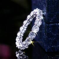 Women Luxury 925 Silver Rings White Sapphire Wedding Ring Jewelry Size 6-10