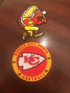"(2) KANSAS CITY CHIEFS Embroidered Iron On Patches Patch Lot 3.5"" X 3"" & 3 X 3"""