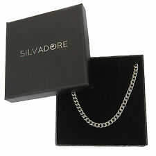 18'' Silvadore 4mm CURB Silver Stainless Steel Chain Necklace Men +CARDBOARD BOX