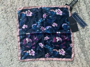 """TED BAKER """"CROAKER"""" NAVY SILK POCKET SQUARE WITH FLORAL PRINT"""