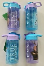 Lot Of 4 Zak! Disney Frozen Straw Water Bottle 16oz Anna Elsa Olaf