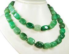 Schöne Edelsteinkette aus grüner Malaysia-Jade in Quaderform. 90cm  lang