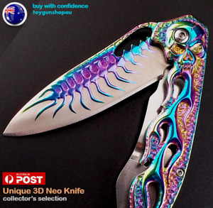 SPIDER RAINBOW TITANIUM folding 3D knife hunting pocket Rainbow Camping knife SK