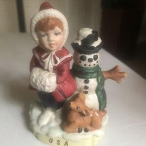 """Children of the World """"USA"""" Hand Painted Porcelain Figurine; 1992~B17"""