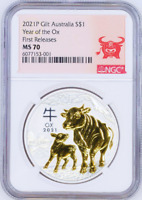 2021 Australia GILDED Silver Lunar Year of the OX NGC MS 70 1oz Coin FR GILT
