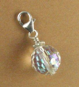 Crystal rainbow disco ball clip-on charm. Big. W/Swarovski Elements. Silver 925.