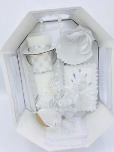 5pcs Baptism Candle Set Favors, Girl Boy White Set de Bautizo Espanol Nina Nino