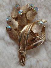 Vintage Goldtone & Aurora Borealis Crystal Tulip Brooch/Pin