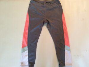 Athleta Women's Medium Gray Peach Athletic legging pants preowned EUC