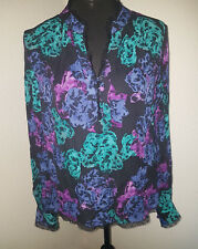 JAEGAR LADIES BLACK FLORAL PRINT SHIRT SIZE 12 100% SILK VINTAGE BLOUSE TOP  O