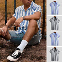 Men's Short Sleeve Striped Shirt Summer Casual Beach Streetwear T Shirts Blouse