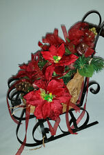 Wicker Metal Sleigh Red Poinsettia Pinecones Christmas Centerpiece Decoration