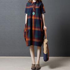 Womens Plaid Check Tartan Turn Down Collar Loose Shirt Mini Dress Tops Blouse