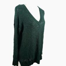 Charlotte Russe V-Neck Sweater Medium Green Long Sleeve Semi Sheer