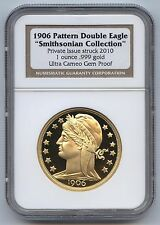 1906 Pattern Double Eagle Smithsonian 2010 NGC Ultra Cameo Gem Proof, Wood Box