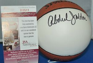 KAREEM ABDUL JABBAR SIGNED SPALDING NBA MINI BASKETBALL BUCKS LAKERS  HOF95 JSA