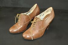 Womans Sz 6.5 Shoes AMERICAN EAGLE Brown Stacked High Heel Oxford Lace Ups Boots