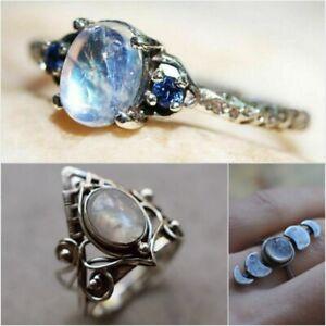 Elegant Women Jewelry 925 Silver Moonstone Ring Wedding Anniversary Gift Sz 6-10