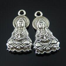 15 Stück Antike Silber Legierung Buddha auf Lotus Charm Anhänger Kunst 31809