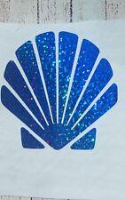 Seashell Blue w/Holographic effect Vinyl Car Decal Tumbler Cup Mug sticker 3.5 H