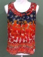 Daniel Rainn Women's Sheer Blouse Size Small Multi Red Paint Splatter Geometric