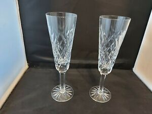 """Tyrone Crystal """"ANTRIM"""" Champagne Flutes x 2  (8 1/4"""") - Stamped"""
