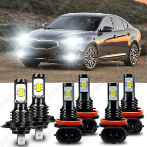 For Kia Cadenza 2014 -2016 6000K LED Headlight Hi / Lo Beam +Fog Light Bulbs Kit