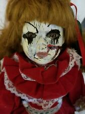 Scary Halloween gothic zombie doll. Doll in the hall. Annabelle's friend.