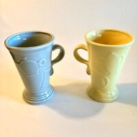 Fiestaware Tall Latte Mugs Set of 2 Gray and Yellow