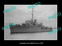 OLD 8x6 HISTORIC AUSTRALIAN NAVY PHOTO OF THE HMAS COWRA SHIP c1950