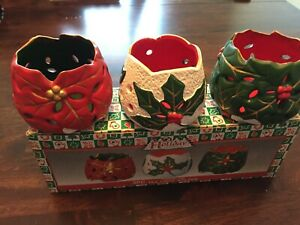 World Bazaars Christmas Holiday Collection 3pc Set Porcelain Tea Light Holders