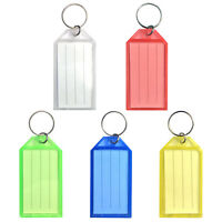 50pack Tough Plastic Key Tags w/ Split Ring Label Window Coded ID Luggage Tags
