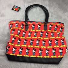 Vintage 90s New Mickey Unlimited Disney Red Black Tote Travel Bag Purse