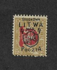 Central Lithuania Poland 1920 4m Overprint Error Litwa Bister and Red 75SK |