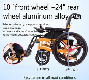 Electric Power Folding Wheelchair   Mobility Aid Motorized New wide seat1