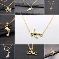Filigrane Halskette mit Symbol Anhänger-Engel,Delfin,Revolver,Love, - gold