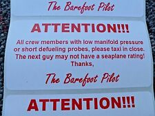 "Seaplanes Aviation Pilots Crew Members Bath Room Sign Sticker 2"" X 4"" - Set of 5"