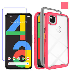 For Google Pixel 4a/5G Shockproof Clear Slim Case Cover/Tempered Glass Protector