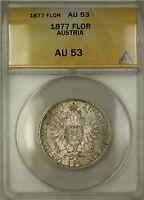 1877 Austria Silver Florin Coin ANACS AU-53