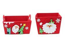 4x Christmas Red Santa Felt Basket Tray Candy Fruit Hamper Gift Box Wrap 16/18cm
