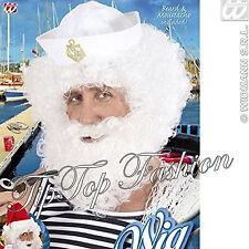 Adulto Men's Bianco Parrucca RICCIA CON BARBA E BAFFI Parrucca FANCY DRESS