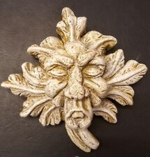 Green man wall plaque leaf face sandstone color old lady gothic face