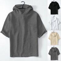 Men's Baggy Cotton Linen Solid Short Sleeve Retro Hooded T Shirt Tops Tee Blouse