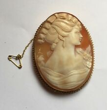 Vintage Large 9ct 9k Gold Carved Shell Cameo Lady Lovely Carving