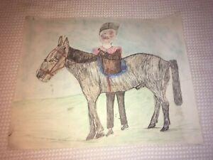 S.L. JONES Folk Art Drawing ~ Signed ~ Woman with Horse. DEAN JENSEN Gallery